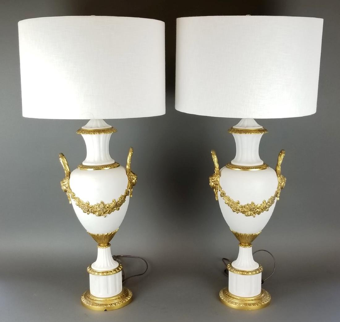 Pair of French Bronze Mounted Lamps