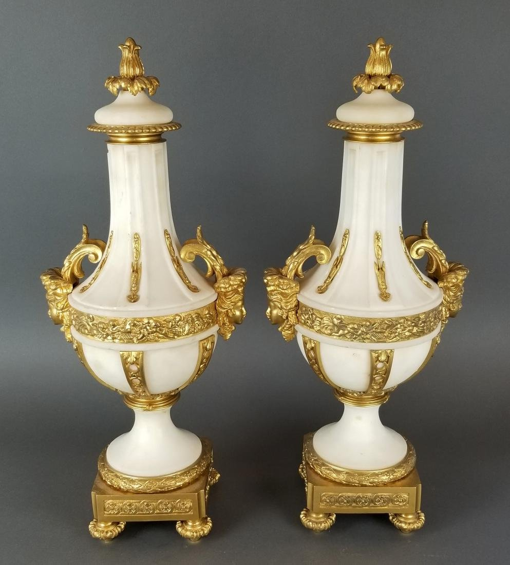 Pair of 19th C. French Large Bronze & Marble Urns