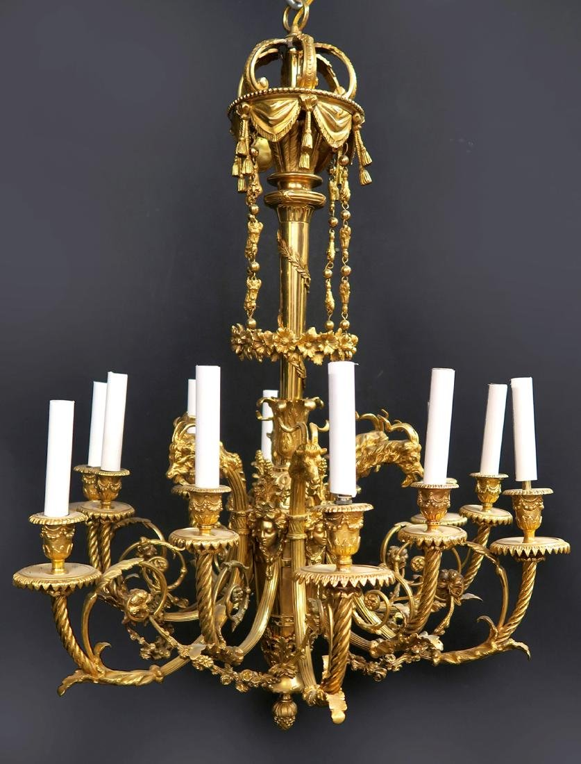 Fine 19th C. French Figural Bronze Chandelier