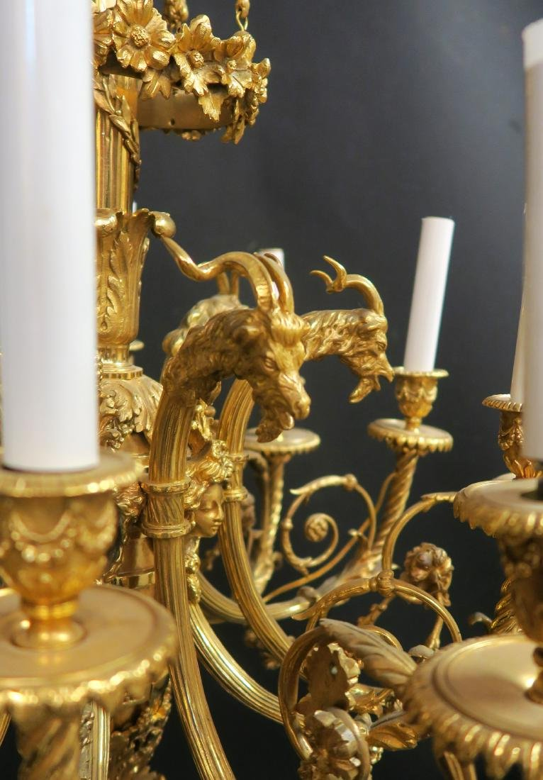 Fine 19th C. French Figural Bronze Chandelier - 3