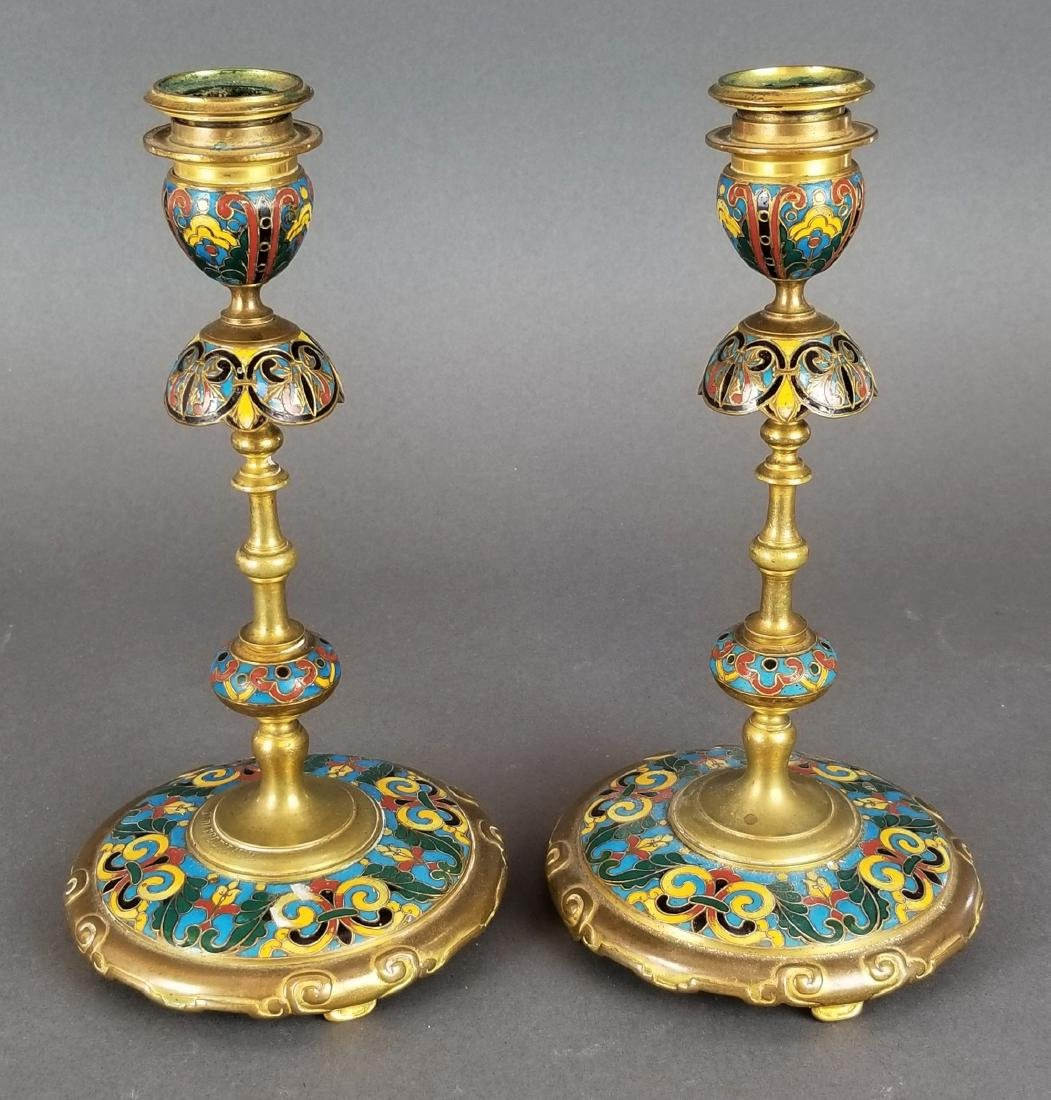 Pair of Champleve Enamel & Bronze Candlesticks