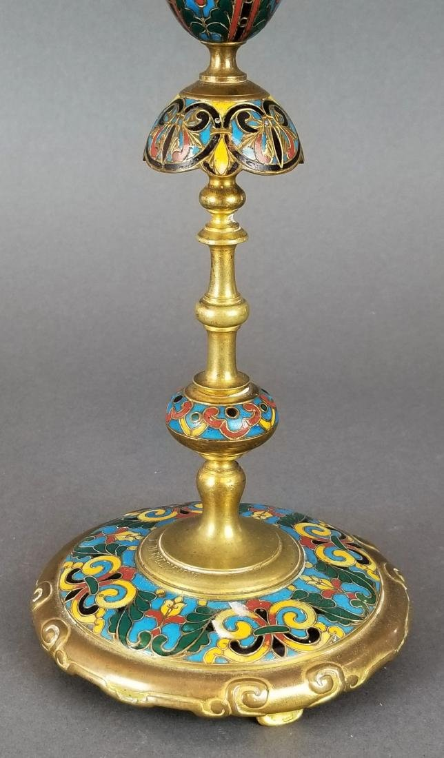 Pair of Champleve Enamel & Bronze Candlesticks - 4