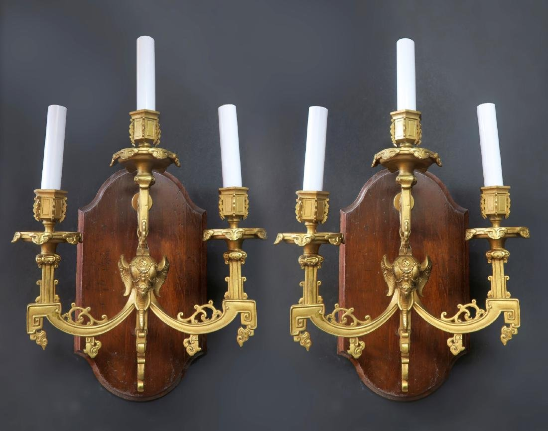 Pair of 19th C. Figural Bronze Elephant Wall Sconces