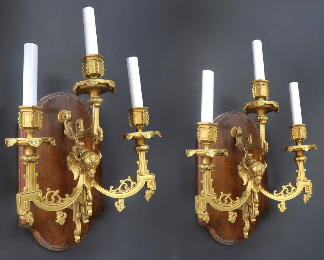 Pair of 19th C. Figural Bronze Elephant Wall Sconces - 2