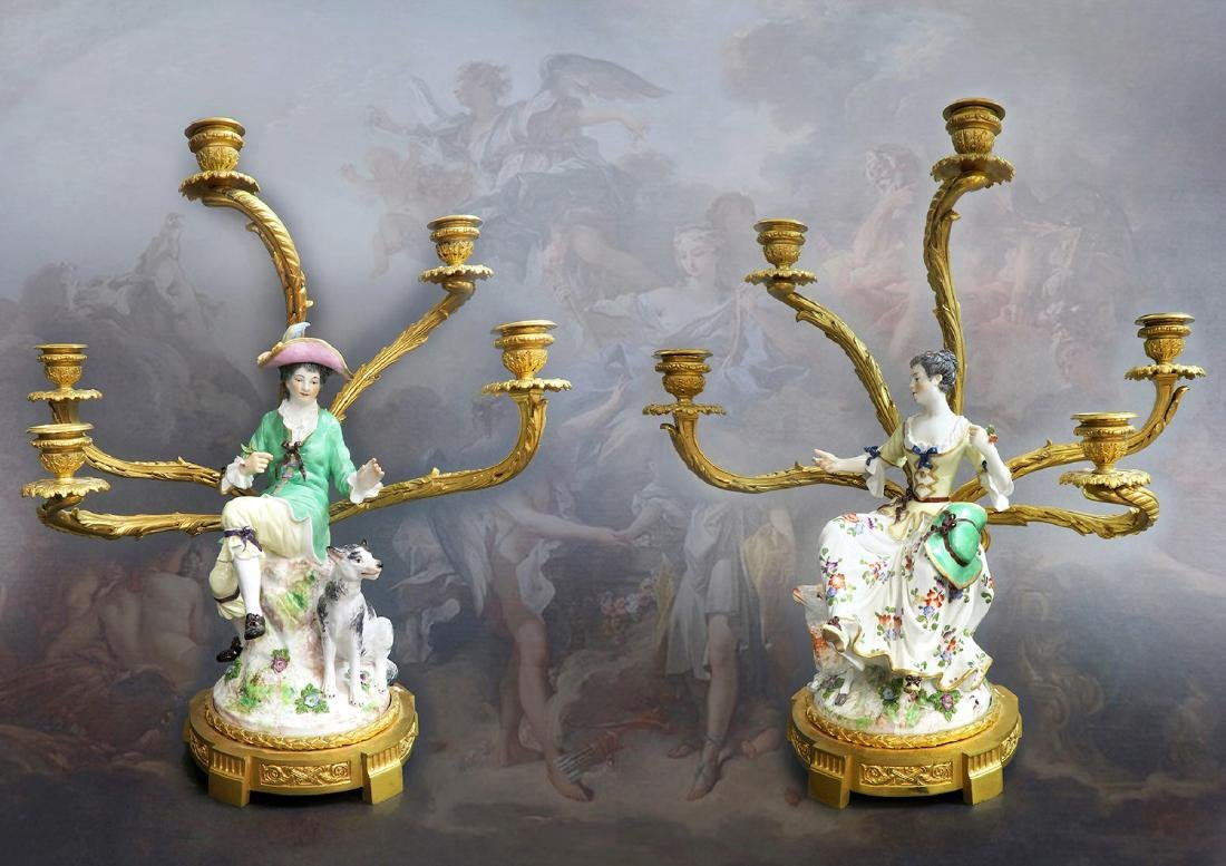 Pair of 19th C Gilt-Bronze-Mounted Meissen Porcelain