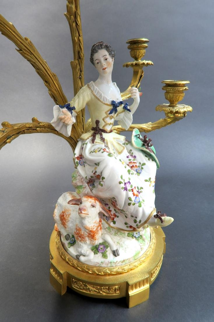 Pair of 19th C Gilt-Bronze-Mounted Meissen Porcelain - 6