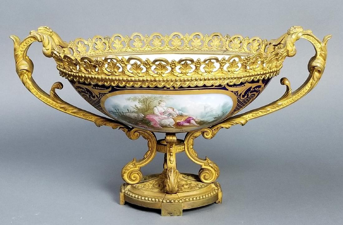 19th C. Serves Bronze and Porcelain Bowl, Signed
