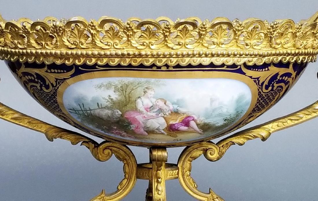 19th C. Serves Bronze and Porcelain Bowl, Signed - 2