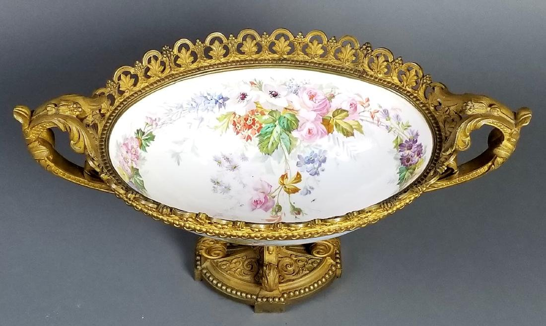 19th C. Serves Bronze and Porcelain Bowl, Signed - 4