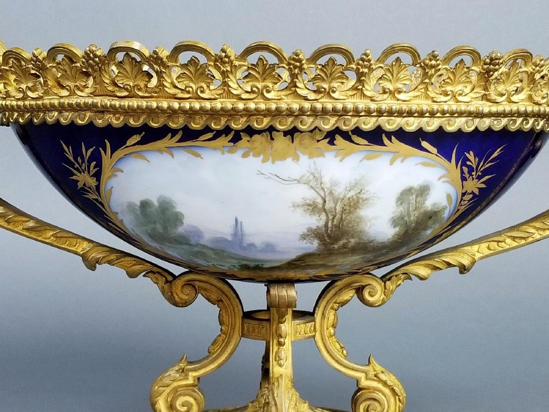 19th C. Serves Bronze and Porcelain Bowl, Signed - 6