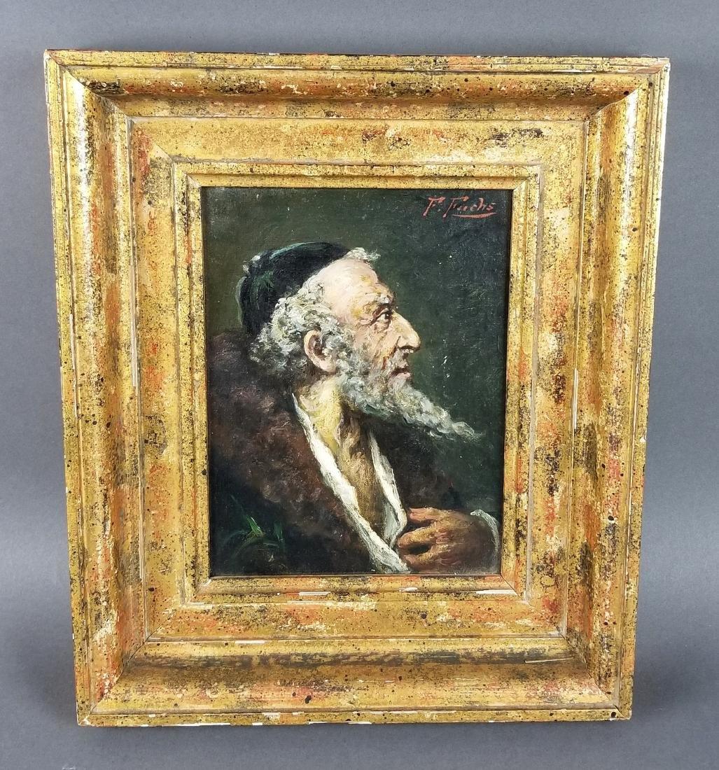 Framed Oil on Board of Rabbi Signed
