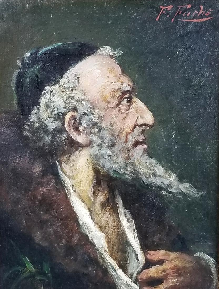 Framed Oil on Board of Rabbi Signed - 2