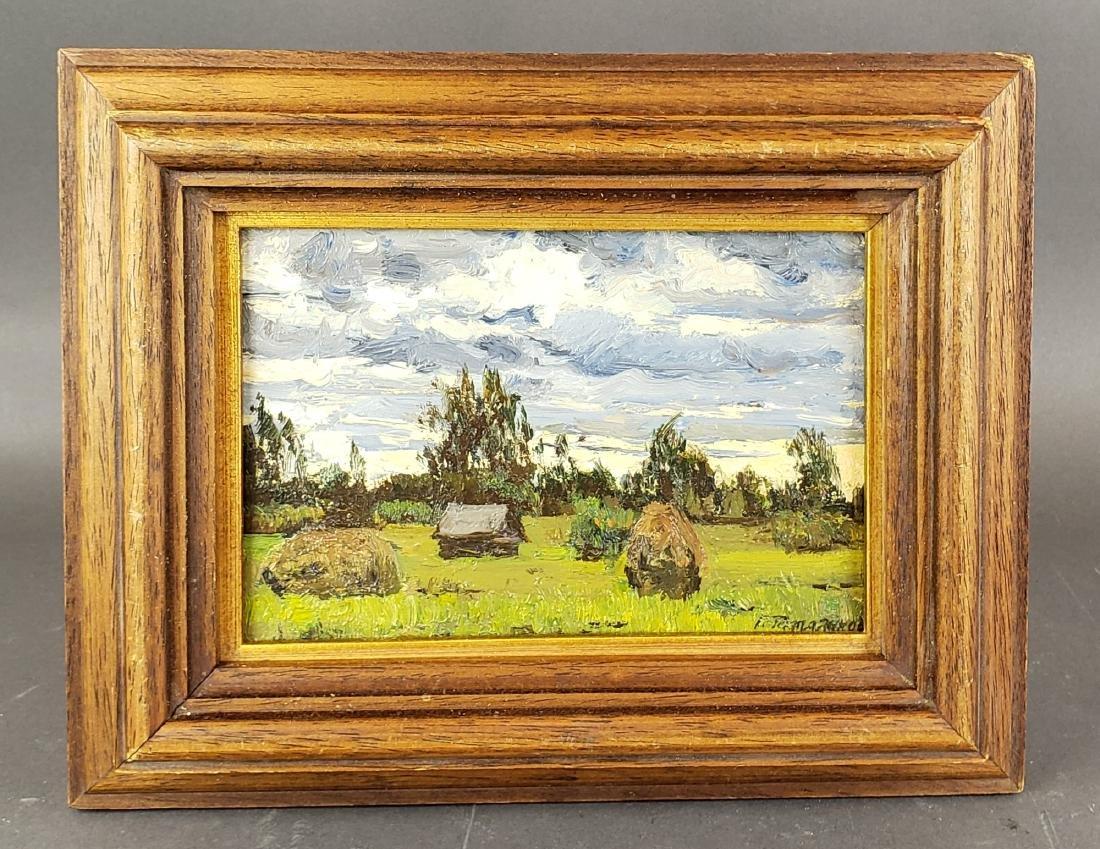Framed Oil on Board of Field Scene Signed