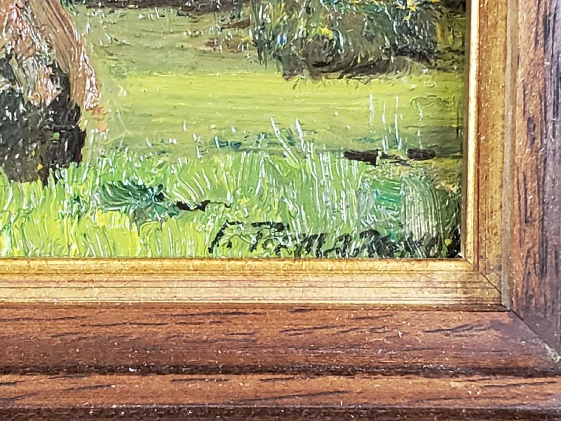 Framed Oil on Board of Field Scene Signed - 3