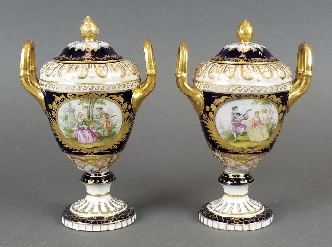 Pair of Royal Vienna Vases, 19th C.