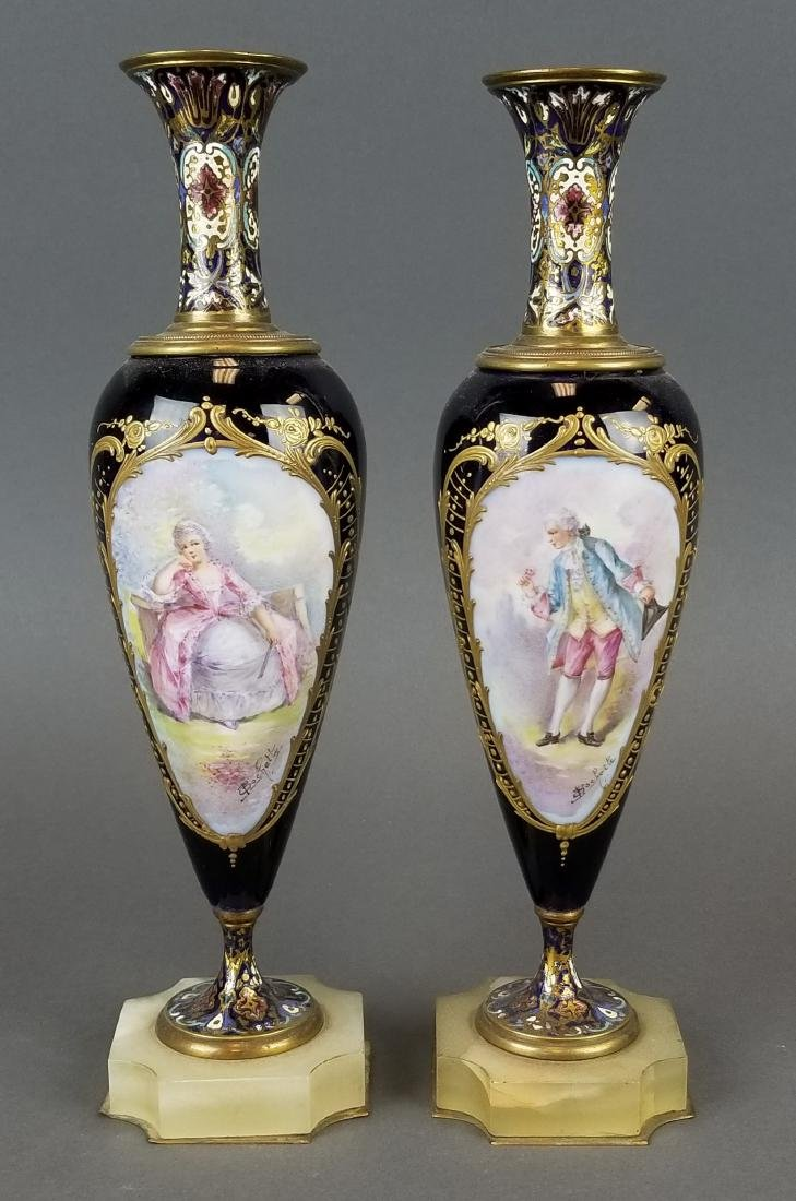 Pair of 19th C. Sevres & Champleve Enamel Vases