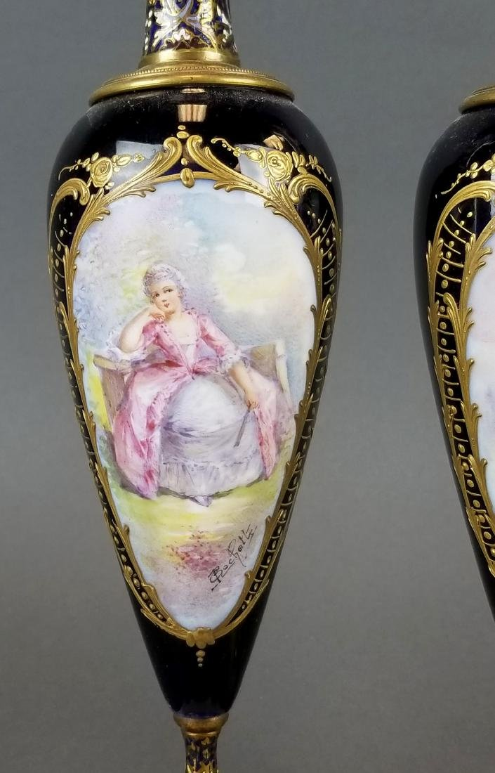 Pair of 19th C. Sevres & Champleve Enamel Vases - 2