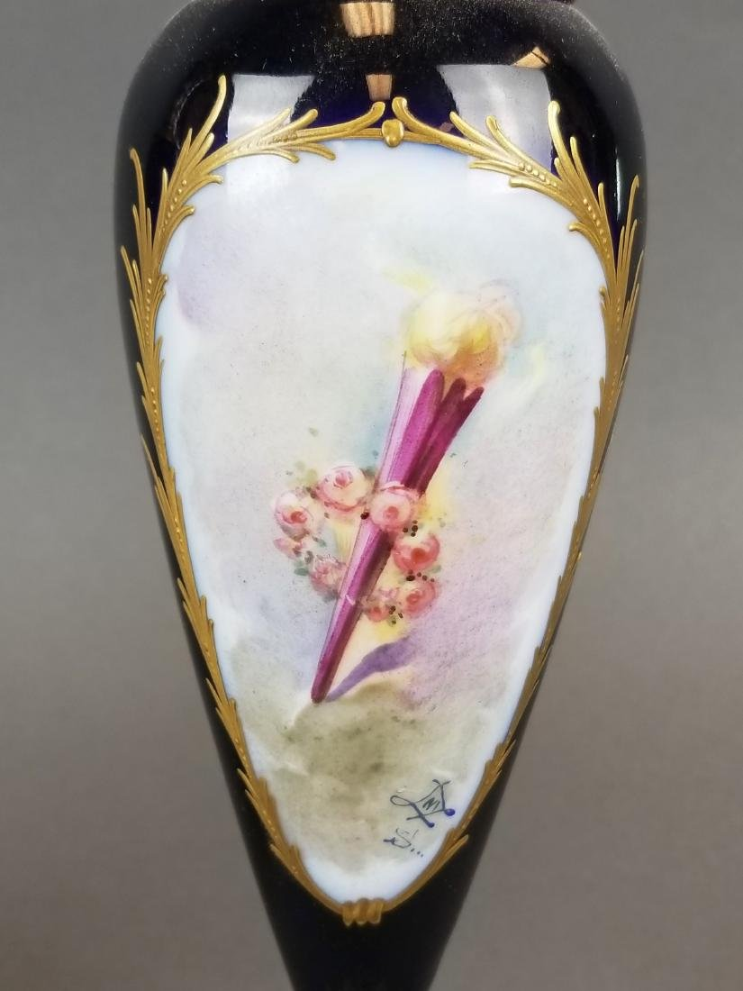 Pair of 19th C. Sevres & Champleve Enamel Vases - 8
