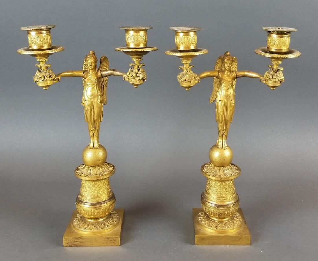 Pair of 19th C. Bronze Empire Candelabras