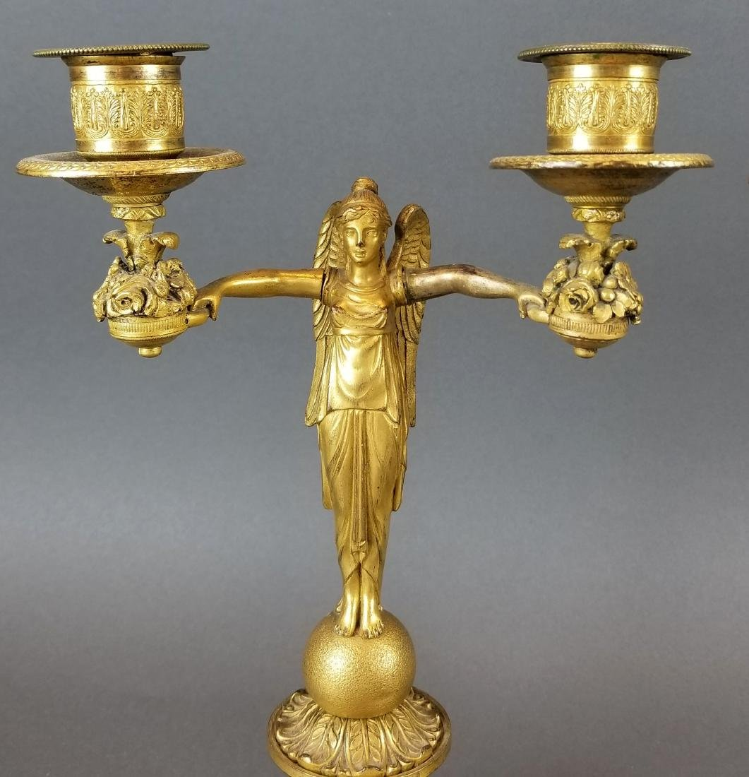 Pair of 19th C. Bronze Empire Candelabras - 2
