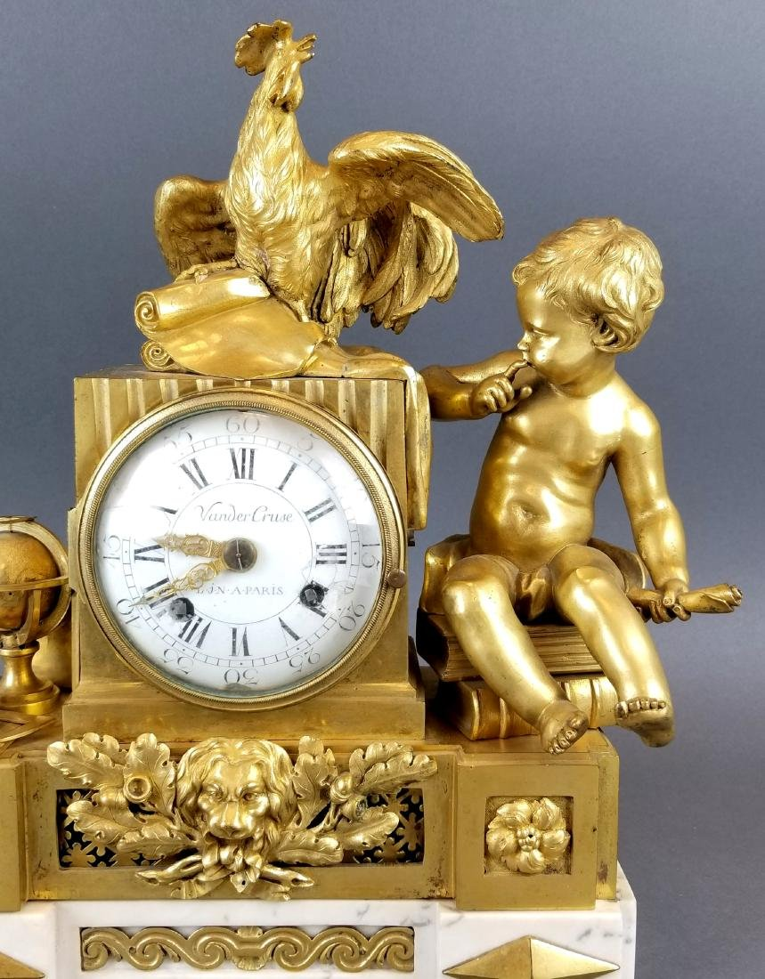 19th C. French Bronze & Marble Mantle Clock - 2