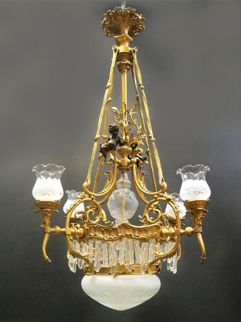 19th C French Figural Bronze & Crystal Chandelier