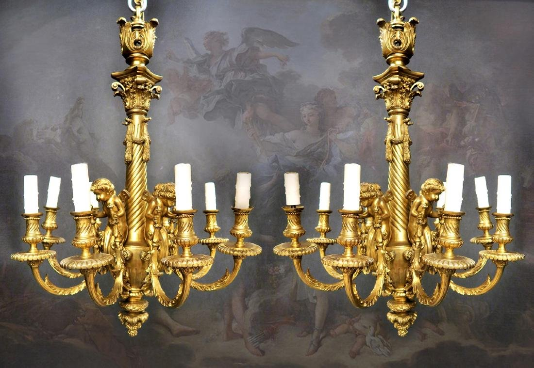 Pair of 19th C. French Gilt Figural Bronze Chandelier