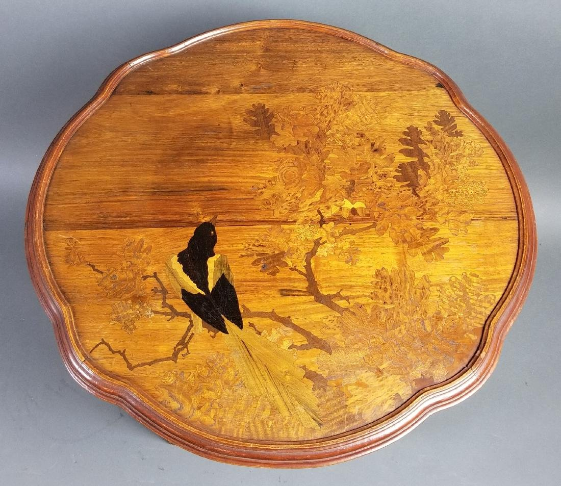 Galle French Inlaid Wooden End Table, Signed - 2