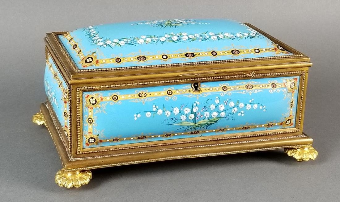 French Enamel and Bronze Handpainted Jewelry Box