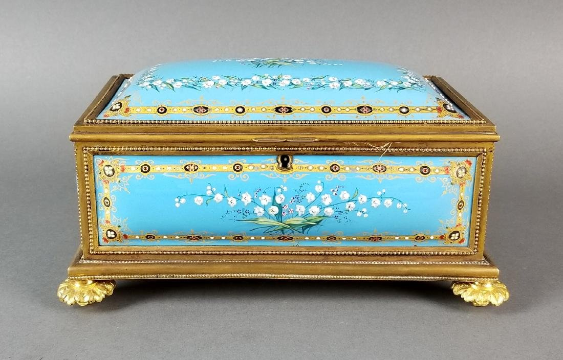 French Enamel and Bronze Handpainted Jewelry Box - 2