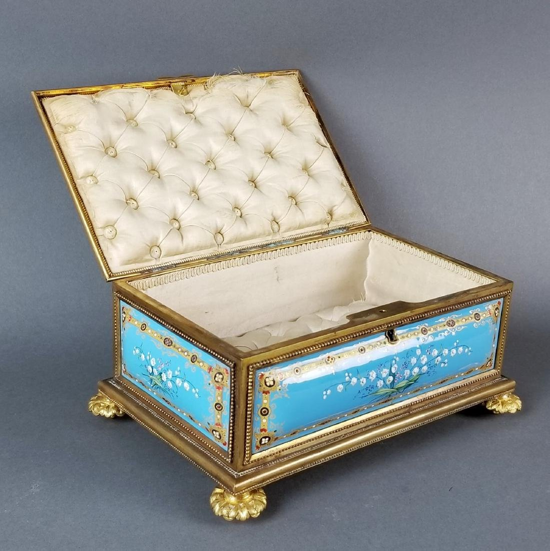 French Enamel and Bronze Handpainted Jewelry Box - 3