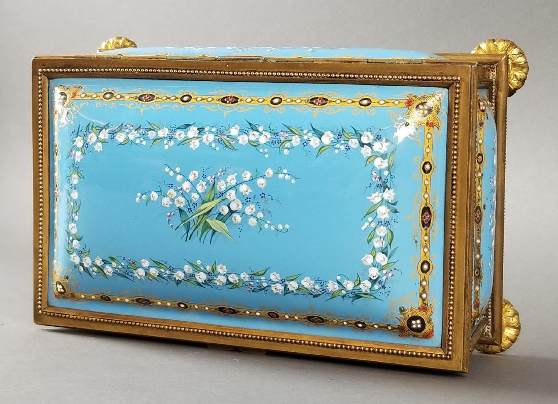 French Enamel and Bronze Handpainted Jewelry Box - 4