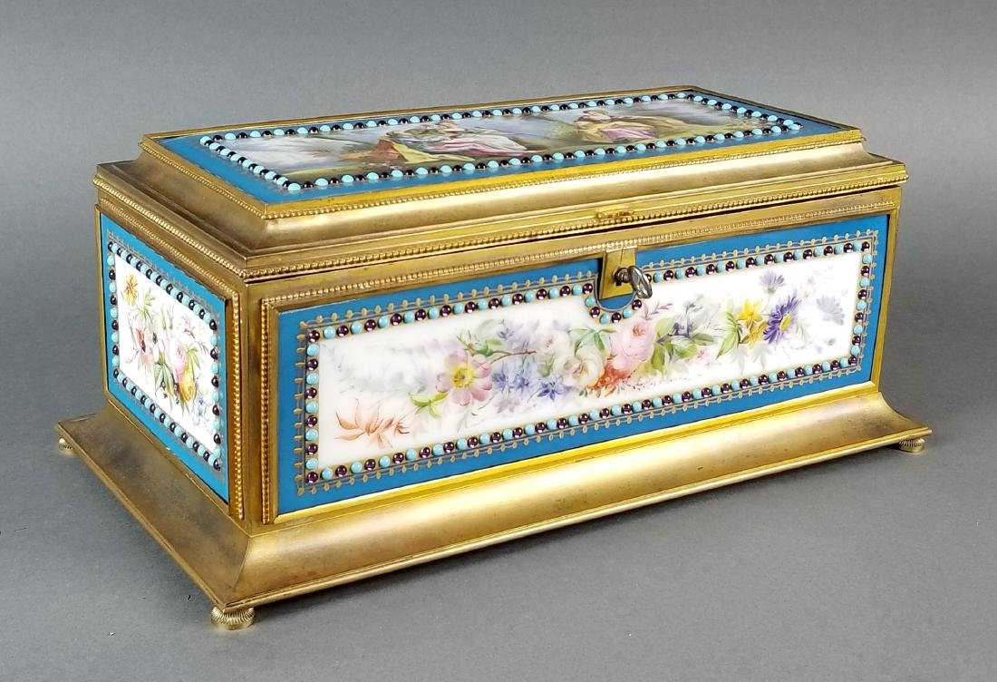 Large Sevres Porcelain and Bronze Jewelled Jewelry Box