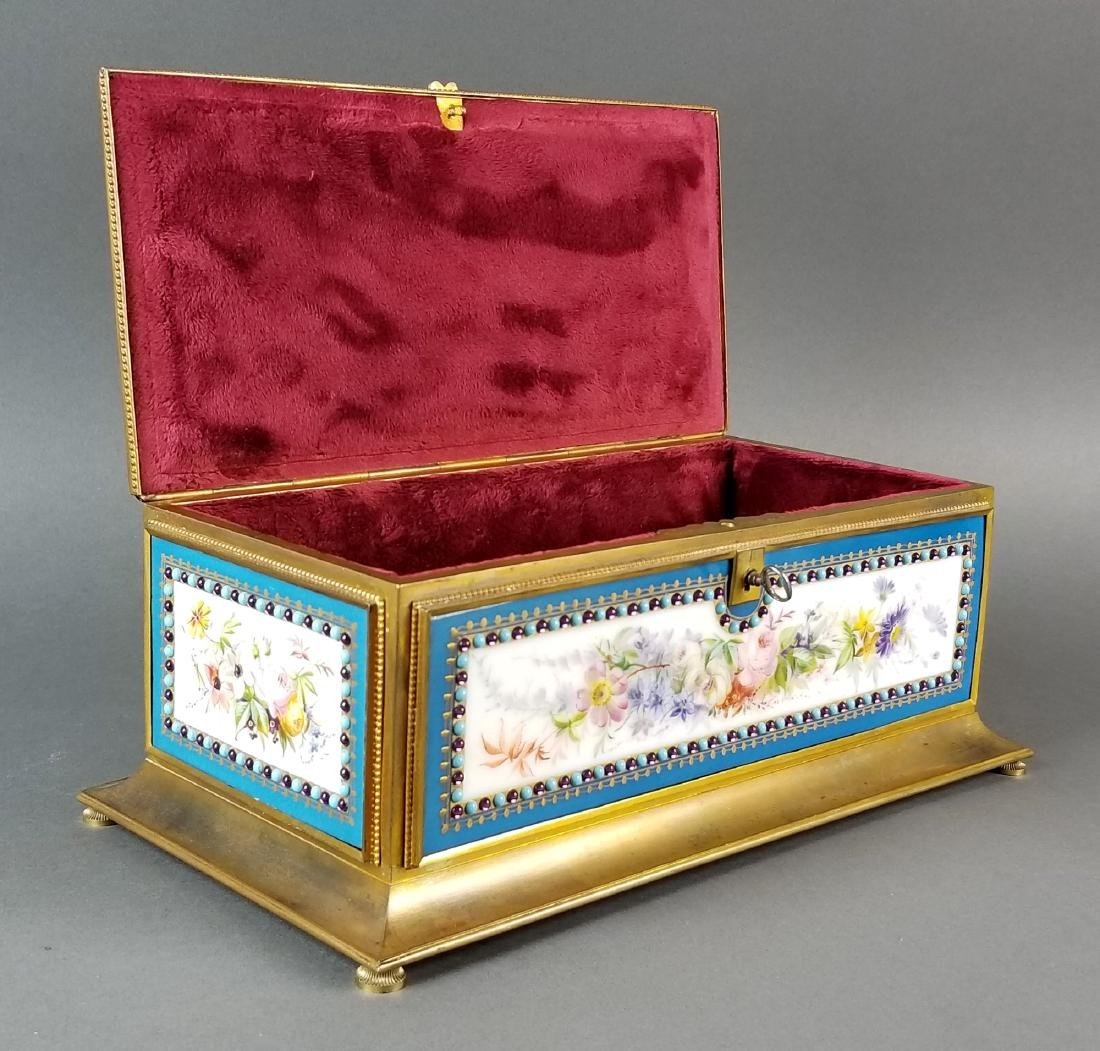 Large Sevres Porcelain and Bronze Jewelled Jewelry Box - 4