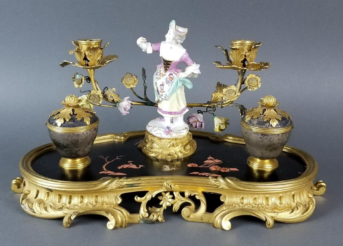 19th C. Chinoiserie Bronze and Porecelain Inkwell