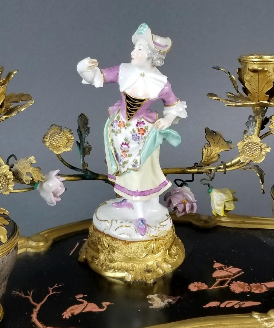 19th C. Chinoiserie Bronze and Porecelain Inkwell - 3