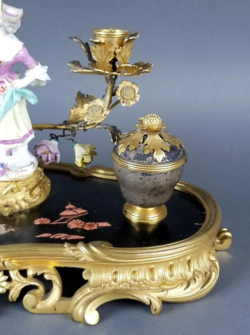 19th C. Chinoiserie Bronze and Porecelain Inkwell - 4