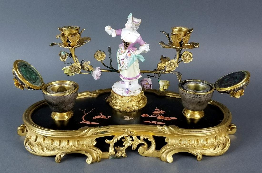 19th C. Chinoiserie Bronze and Porecelain Inkwell - 6