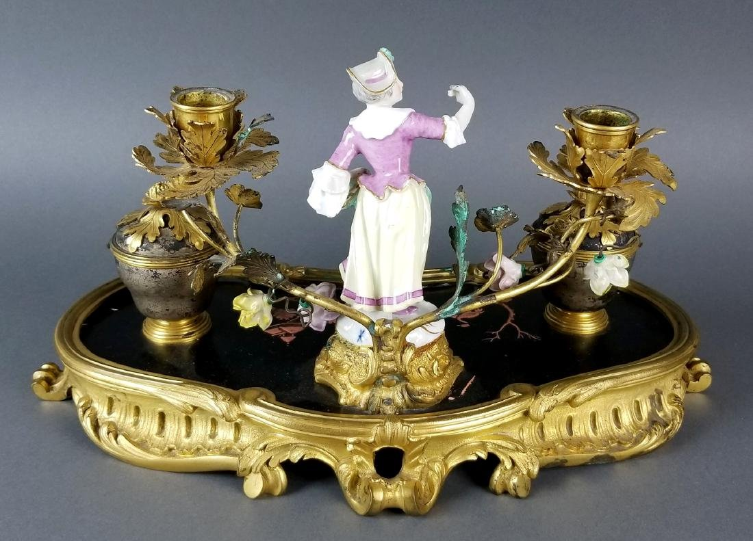 19th C. Chinoiserie Bronze and Porecelain Inkwell - 8