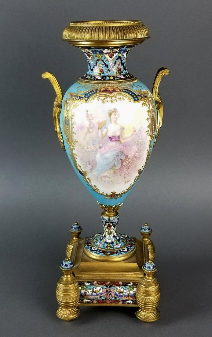 Pair of 19th C. Large Sevres and Champleve Enamel Vases - 2