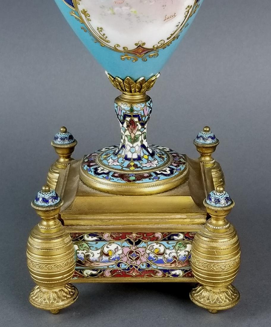 Pair of 19th C. Large Sevres and Champleve Enamel Vases - 4