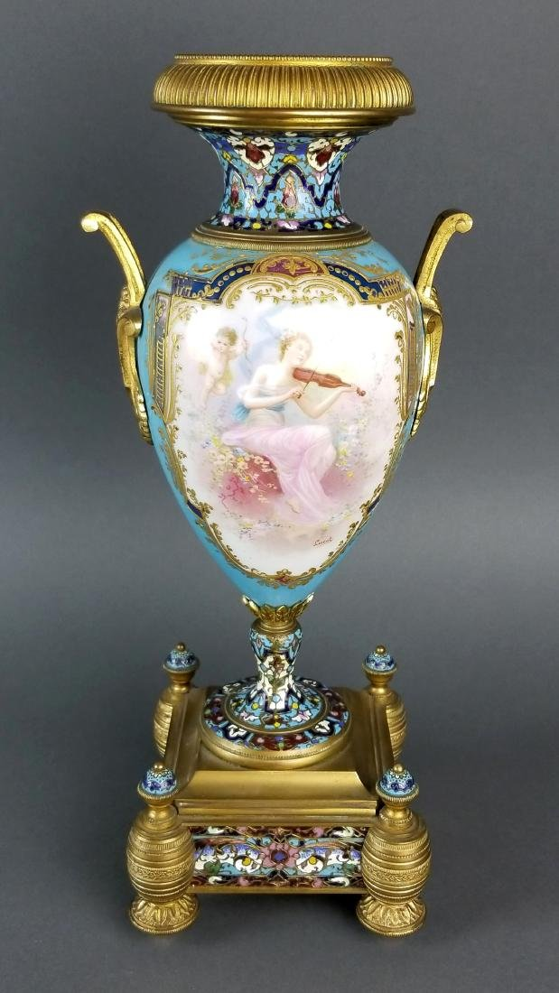 Pair of 19th C. Large Sevres and Champleve Enamel Vases - 6