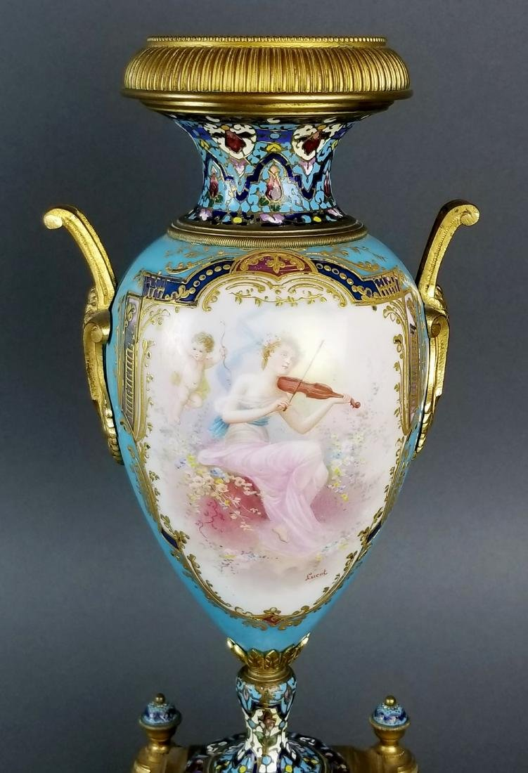 Pair of 19th C. Large Sevres and Champleve Enamel Vases - 7