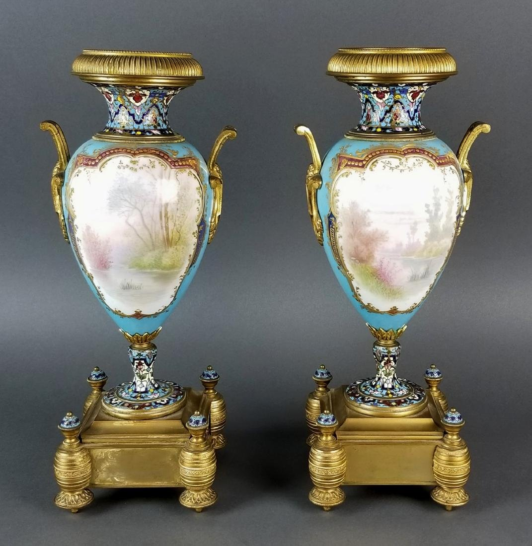 Pair of 19th C. Large Sevres and Champleve Enamel Vases - 8