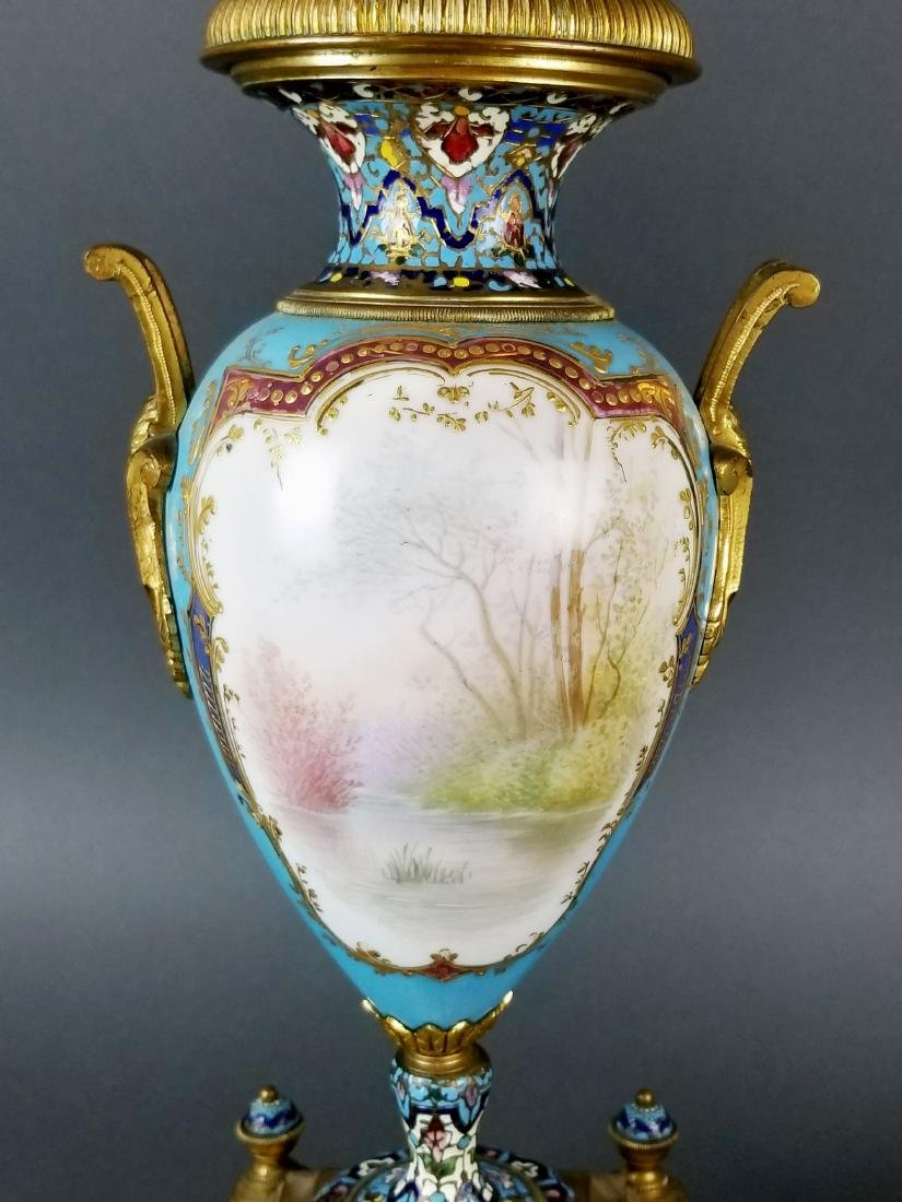 Pair of 19th C. Large Sevres and Champleve Enamel Vases - 9