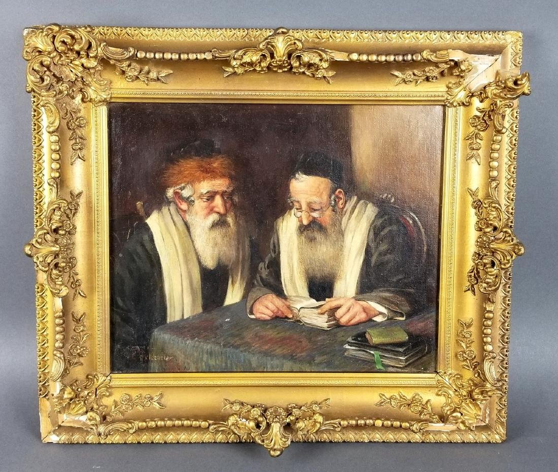 "Framed Painting of ""2 Rabbi's Studying Torah"", Signed"