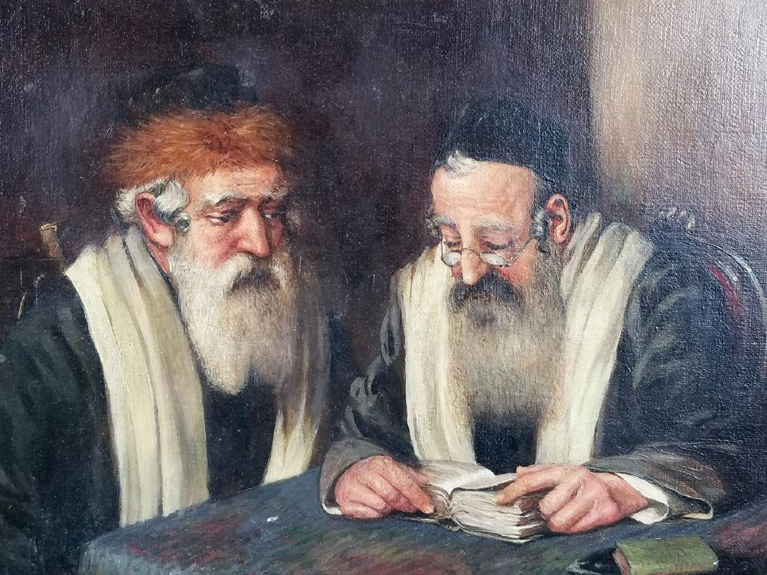 "Framed Painting of ""2 Rabbi's Studying Torah"", Signed - 2"