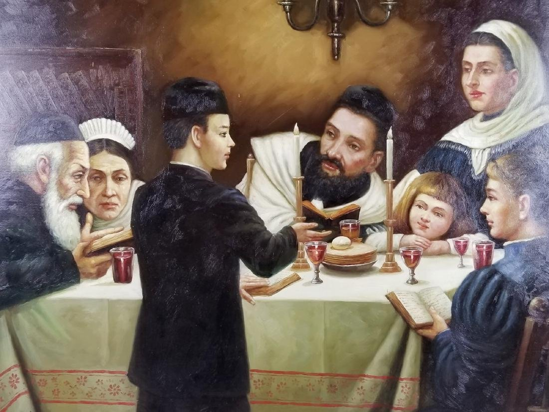 "Oil on Canvas ""Passover Dinner"" - 2"