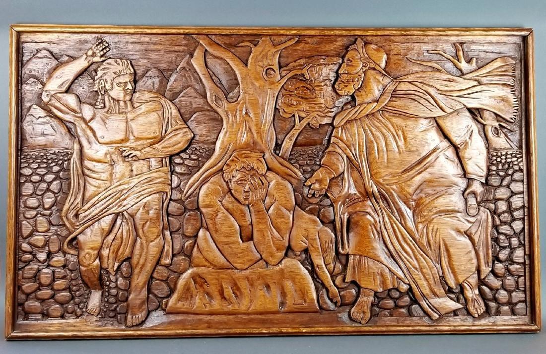 "Large Carved Wood Biblical Frame ""Michael Angelo"