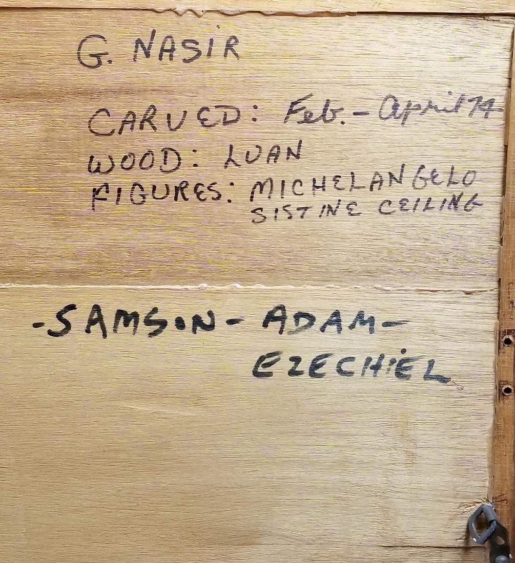 "Large Carved Wood Biblical Frame ""Michael Angelo - 6"